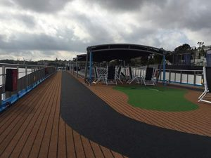 The track on the sun deck of the Ama Dolce in Bordeaux
